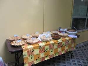 11 scrumptious pies competed for $50 Swansons Gift Card and vintage pie themed goodies