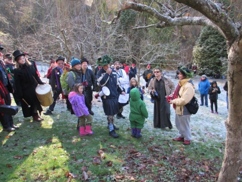 Celebrants and the Wassail King.